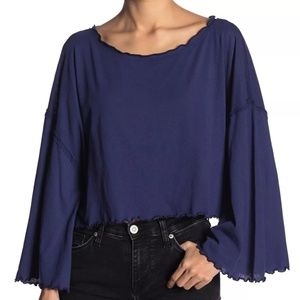 Free People Navy Blue Boatneck Cropped Top Small